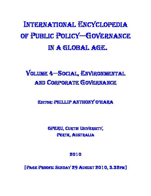 Vol 4 International Encyclopedia Of Public Policy Social