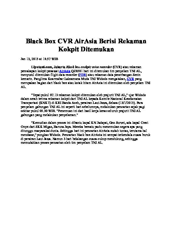 DOC) Black Box CVR AirAsia Berisi Rekaman Kokpit Ditemukan