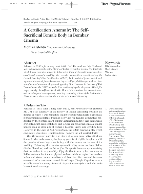 PDF) A Certification Anomaly: The Self-Sacrificial Female