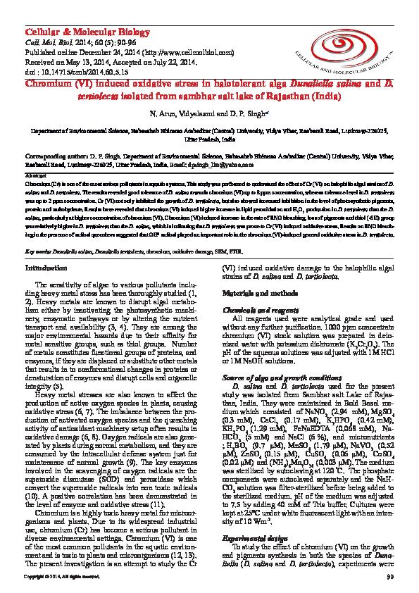 PDF) Chromium (VI) induced oxidative stress in halotolerant