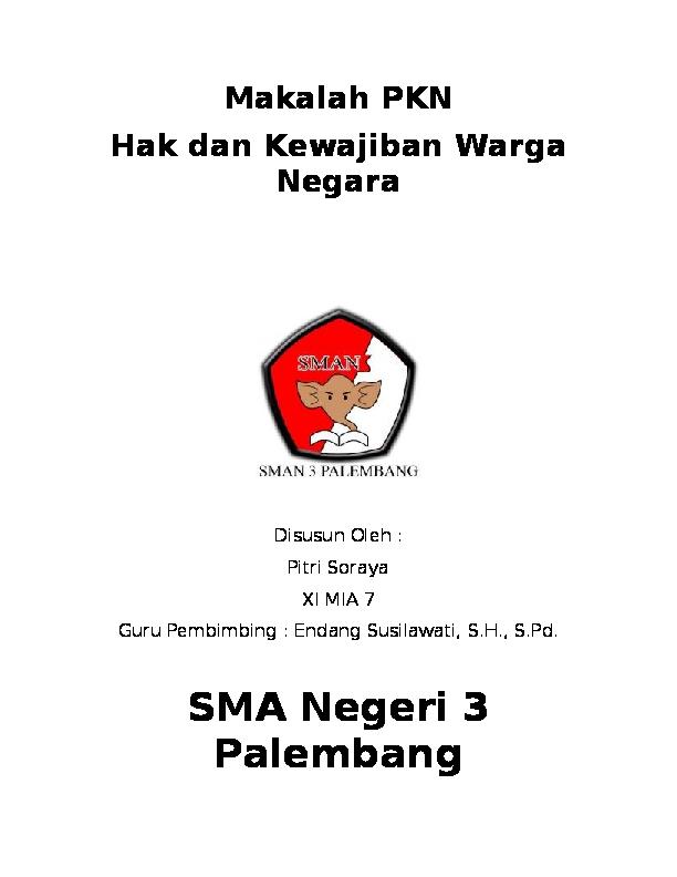 Doc Makalah Pkn Hak Dan Kewajiban Warga Negara Fitri Soraya Academia Edu