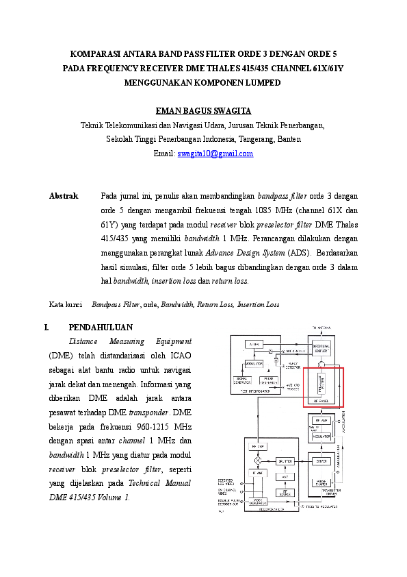 DOC) KOMPARASI ANTARA BAND PASS FILTER ORDE 3 DENGAN ORDE 5 PADA