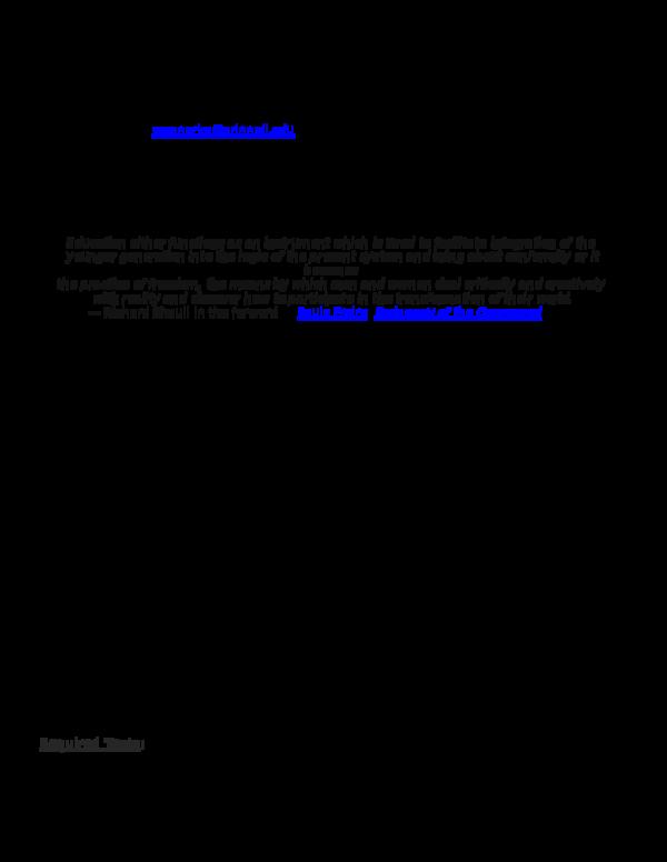 Doc Edu 101 Principles Of Education In A Pluralistic Society Syllabus Spring 2015 Kathryn Wegner Academia Edu