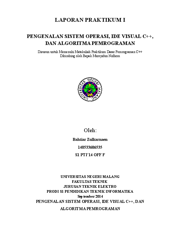 Doc Laporan Praktikum Dasar Pemrograman Komputer 1 Bachtiar Zulkarnaen Academia Edu