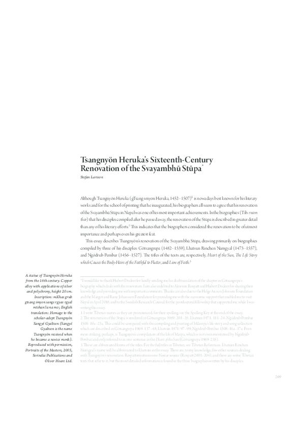 """PDF) """"Tsangnyön Heruka's Sixteenth-Century Renovation of the"""