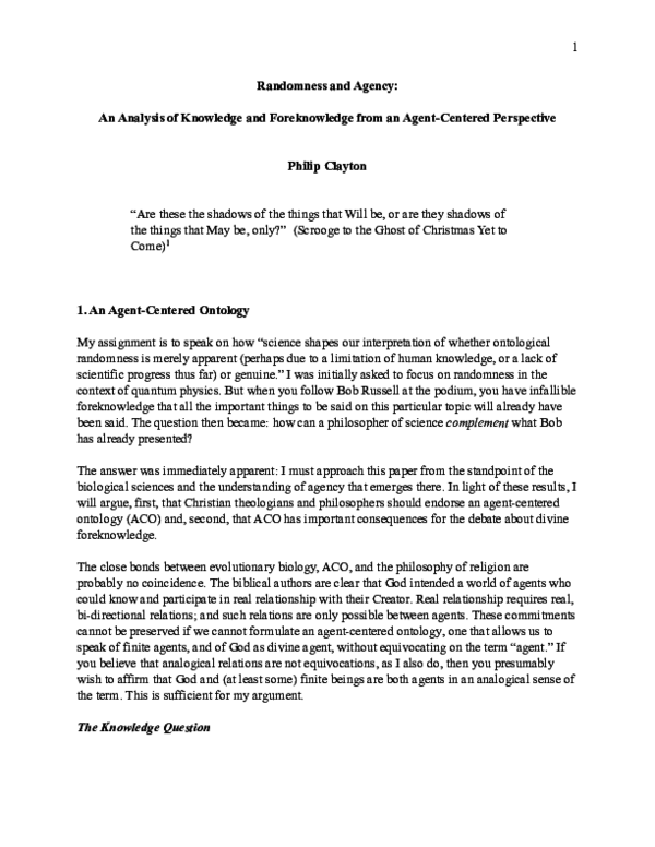 PDF) Randomness and Agency: An Analysis of Knowledge and
