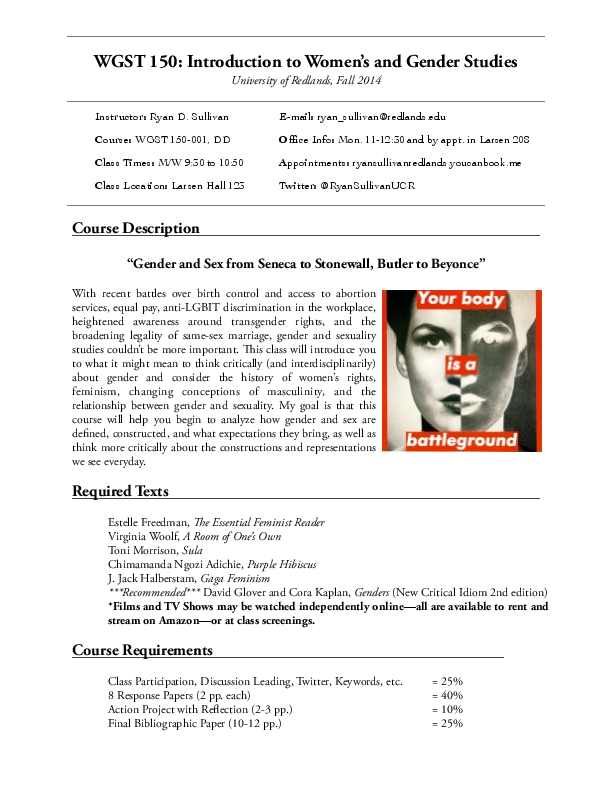 Pdf Syllabus Introduction To Womens And Gender Studies Ryan D