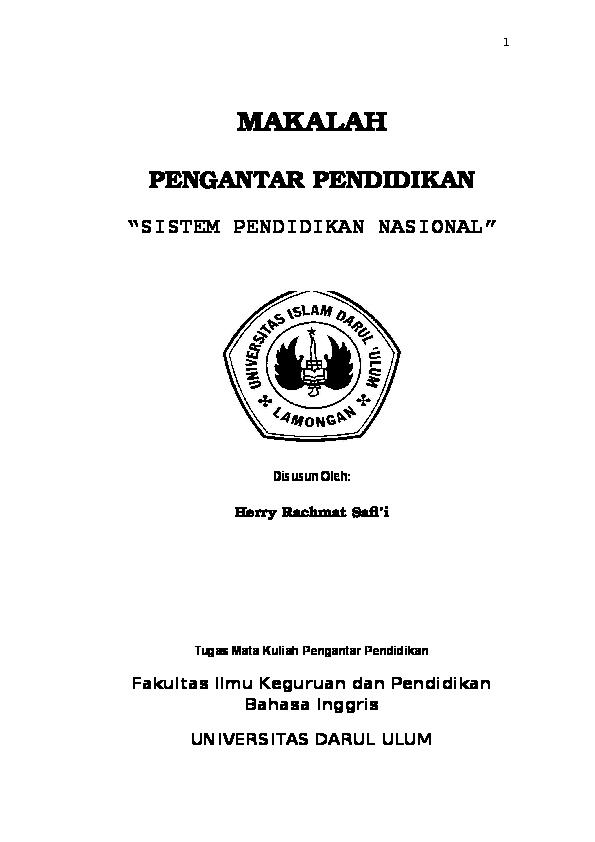 Doc Makalah Pengantar Pendidikan Sistem Pendidikan Nasional Di Indonesia Herry Potter Academia Edu