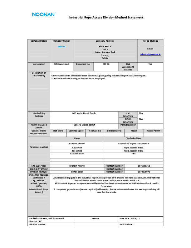 Roof Access Permit Template