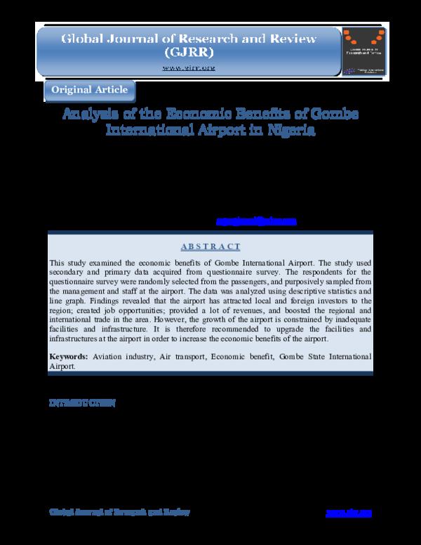 PDF) Analysis of the Economic Benefits of Gombe