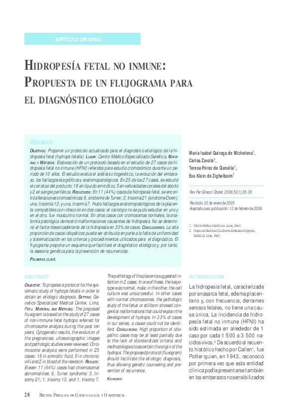 Hidropesía fetal no inmune fisiopatología de la diabetes