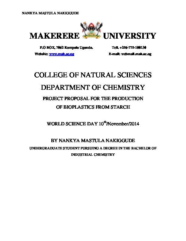 PDF) production of bio plastics from starch | nankya mastula