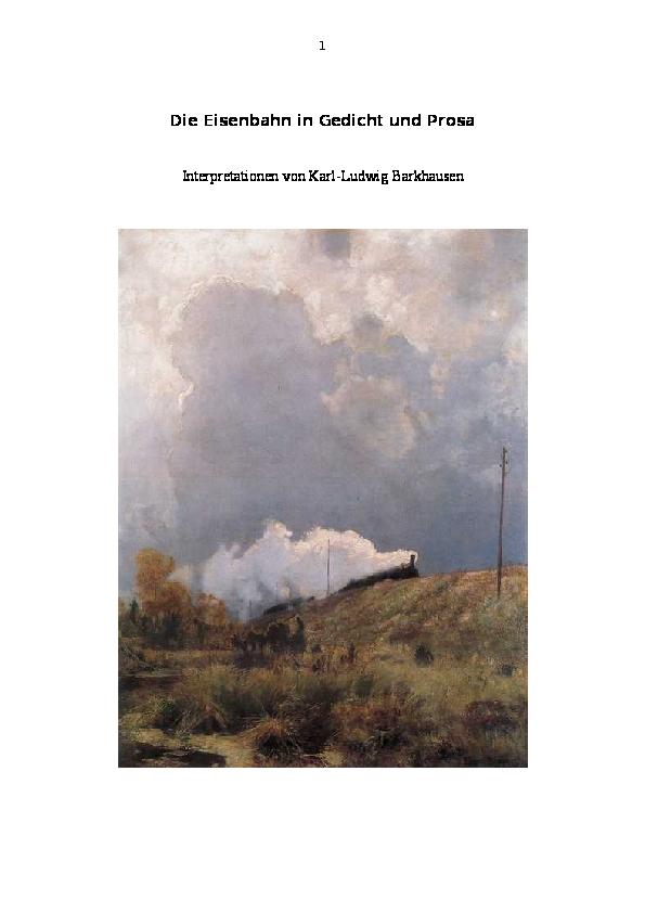 Doc Die Eisenbahn Im Gedicht Karl Ludwig Barkhausen