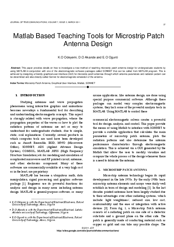 PDF) Matlab Based Teaching Tools for Microstrip Patch Antenna Design