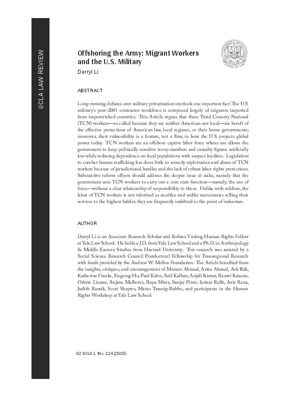 PDF) Offshoring the Army: Migrant Workers and the U S