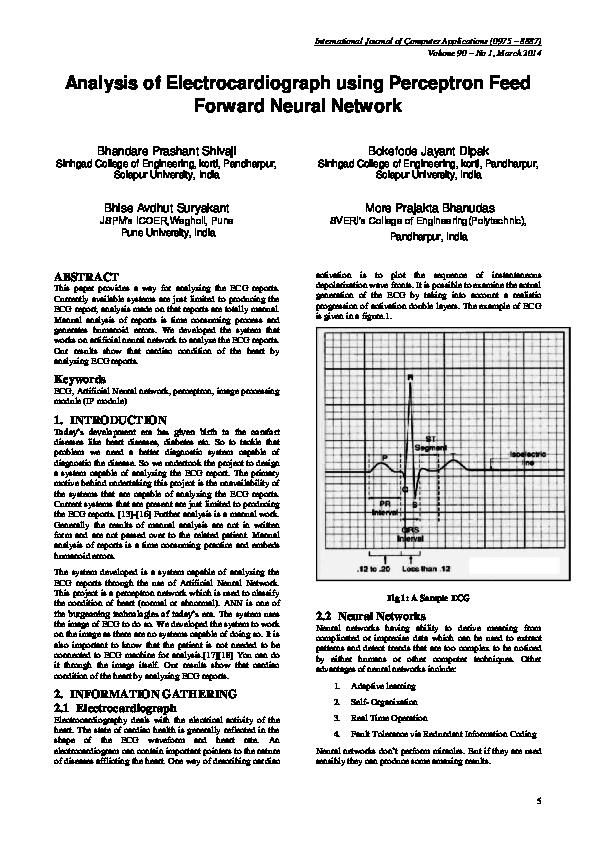 PDF) Analysis of Electrocardiograph using Perceptron Feed Forward