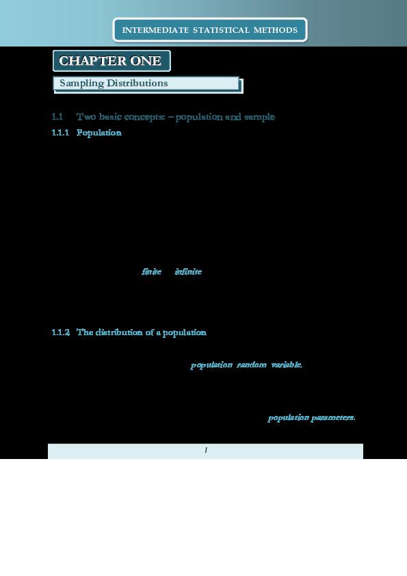 PDF) INTERMEDIATE STATISTICAL METHODS | Christian A Hesse - Academia edu