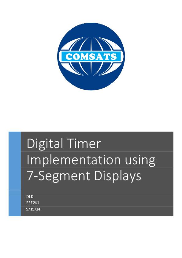 PDF) Digital Timer Implementation using 7-Segment Displays
