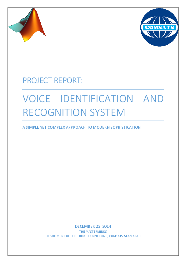 PDF) Voice Identification And Recognition System | Sohaib Tallat
