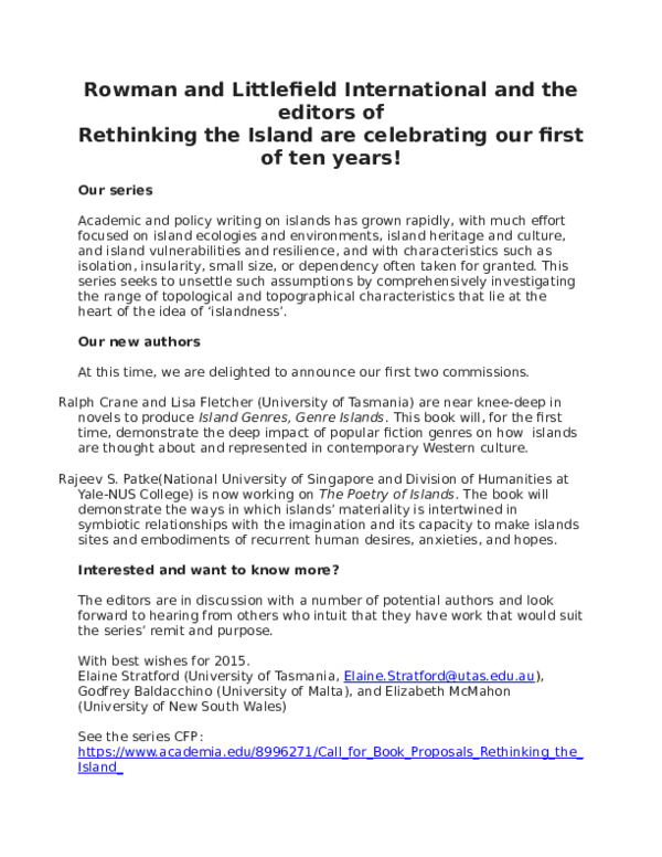 DOC) CFP and Update: Rethinking the Island Series | Brian