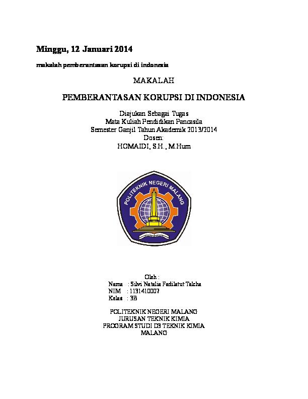 Doc Minggu 12 Januari 2014 Makalah Pemberantasan Korupsi Di Indonesia Makalah Pemberantasan Korupsi Di Indonesia Bettykk Asdi Academia Edu