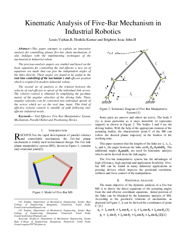 PDF) Kinematic Analysis of Five Bar Mechanism in Industrial