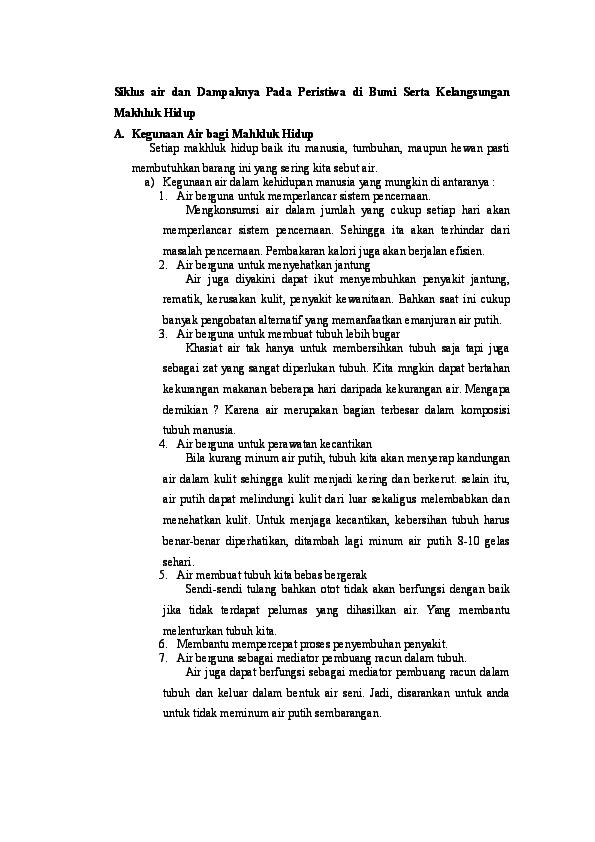 Doc Siklus Air Dan Dampaknya Pada Peristiwa Di Bumi Serta Kelangsungan Makhluk Hidup Muhamad Syaban Subekti Academia Edu