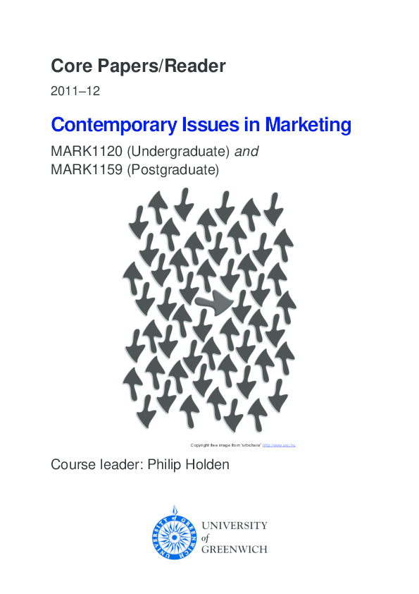 PDF) Core Papers/Reader Contemporary Issues in Marketing
