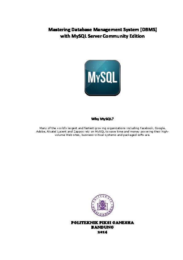Pdf Mastering Database Management System Dbms With Mysql Server Community Edition Ricky Aries Hermawan Academia Edu