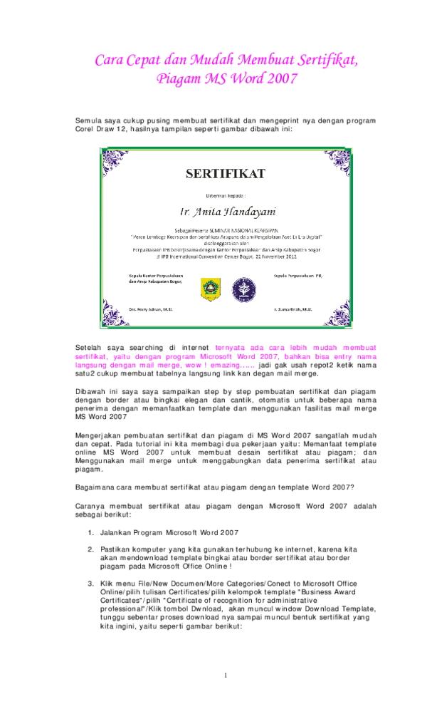 pdf cara cepat dan mudah membuat sertifikat arthur madridista academia edu membuat sertifikat