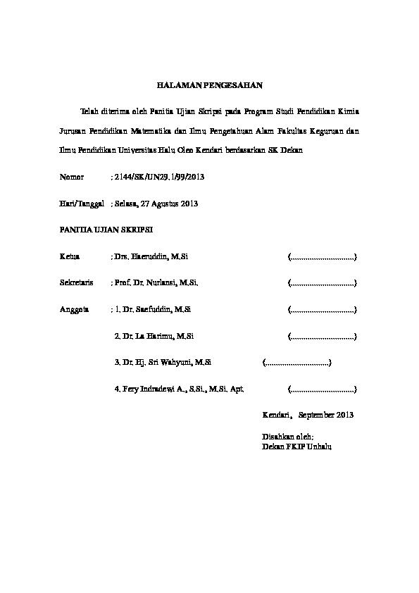 Doc Halaman Pengesahan Telah Diterima Oleh Panitia Ujian Skripsi Pada Program Studi Pendidikan Kimia Herlina Herlina Academia Edu