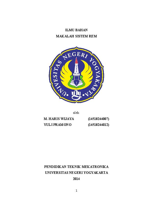 Doc Makalah Sistem Rem Haris Wijaya Academia Edu
