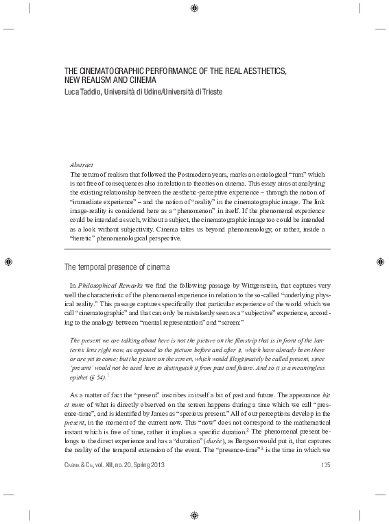 PDF) THE CINEMATOGRAPHIC PERFORMANCE OF THE REAL AESTHETICS