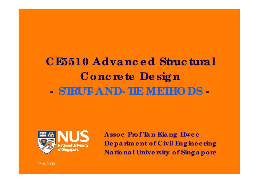 PDF) Advanced Structural Concrete Design -STRUT-AND-TIE METHODS
