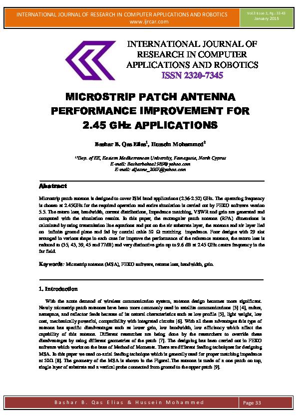 PDF) MICROSTRIP PATCH ANTENNA PERFORMANCE IMPROVEMENT FOR