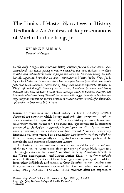 PDF) The Limits of Master Narratives in History Textbooks