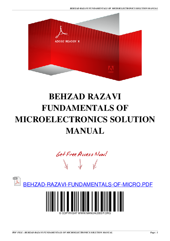 PDF) BEHZAD RAZAVI FUNDAMENTALS OF MICROELECTRONICS SOLUTION MANUAL