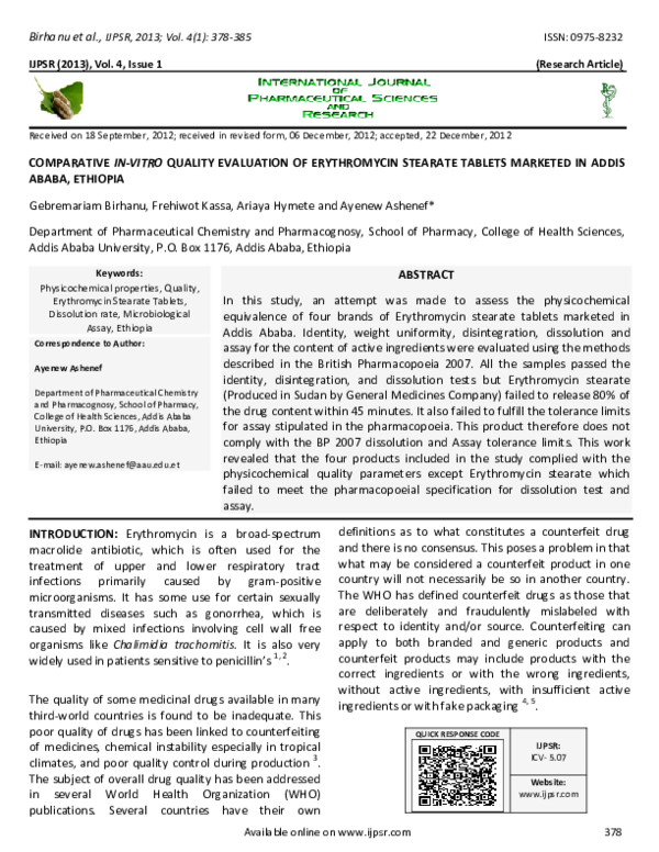PDF) COMPARATIVE IN-VITRO QUALITY EVALUATION OF ERYTHROMYCIN