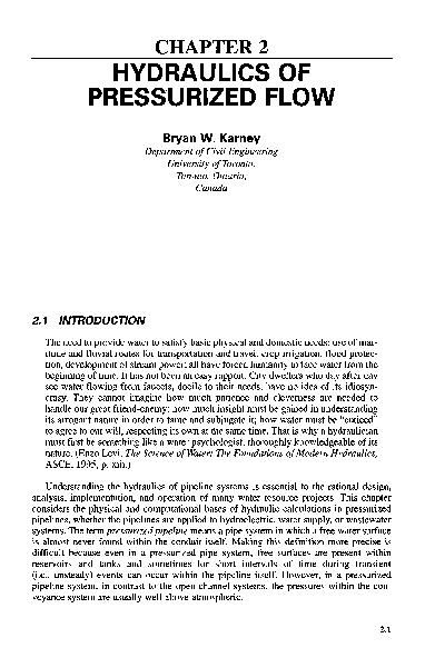 PDF) CHAPTER 2 HYDRAULICS OF PRESSURIZED FLOW | Mamoun