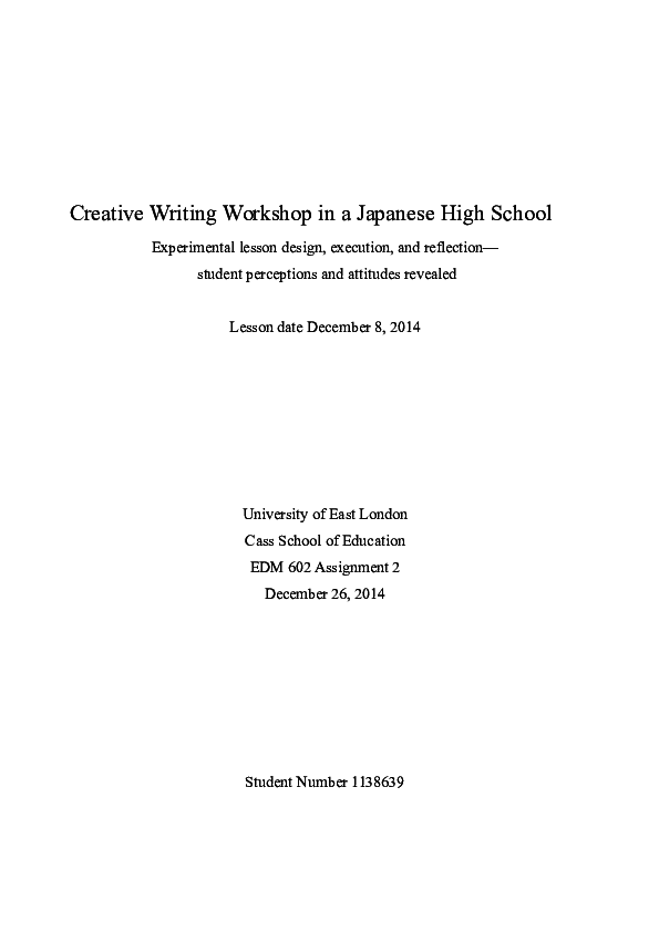 DOC) Creative Writing Workshop in a Japanese High School
