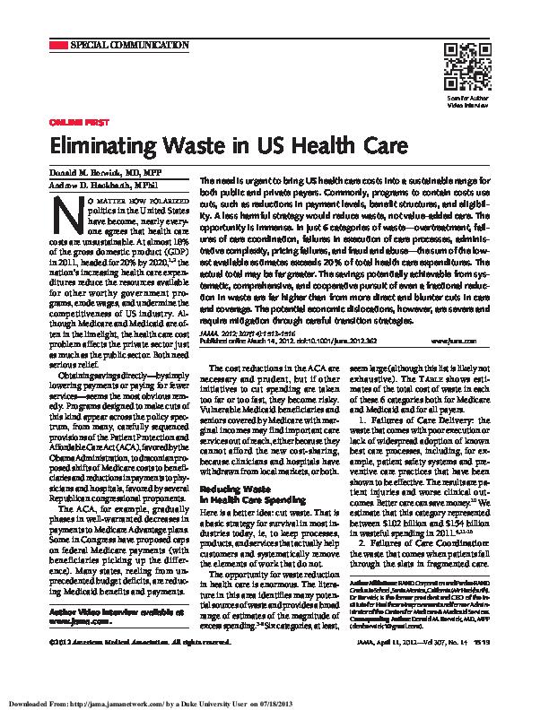 Eliminating Waste In Us Healthcare Berwick Ricardo Esteves