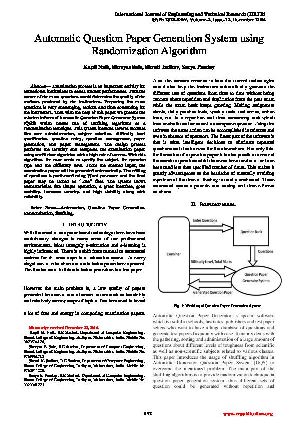 PDF) Automatic Question Paper Generation System using Randomization