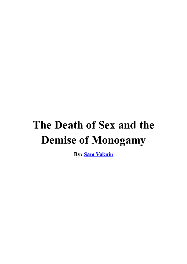 DOC) The Death of Sex and the Demise of Monogamy | Sam