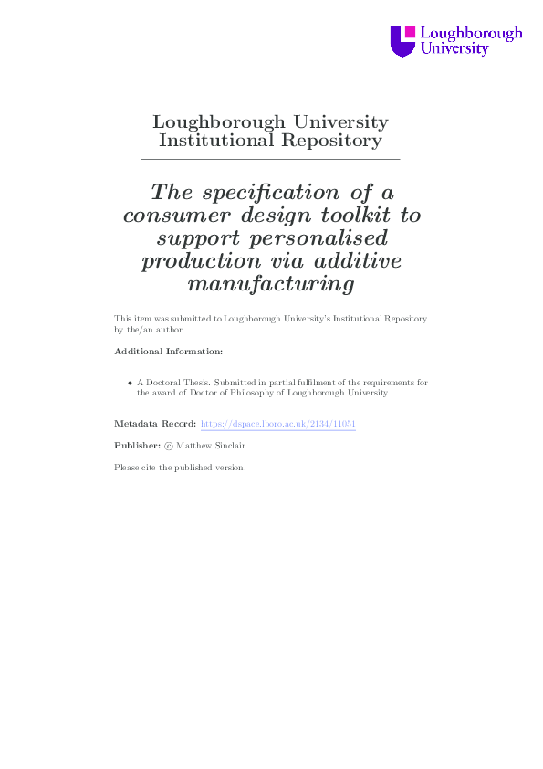 PDF) The specification of a consumer design toolkit to support
