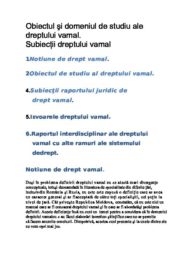 DOC) Notite de curs la disciplina dreptul vamal 2003