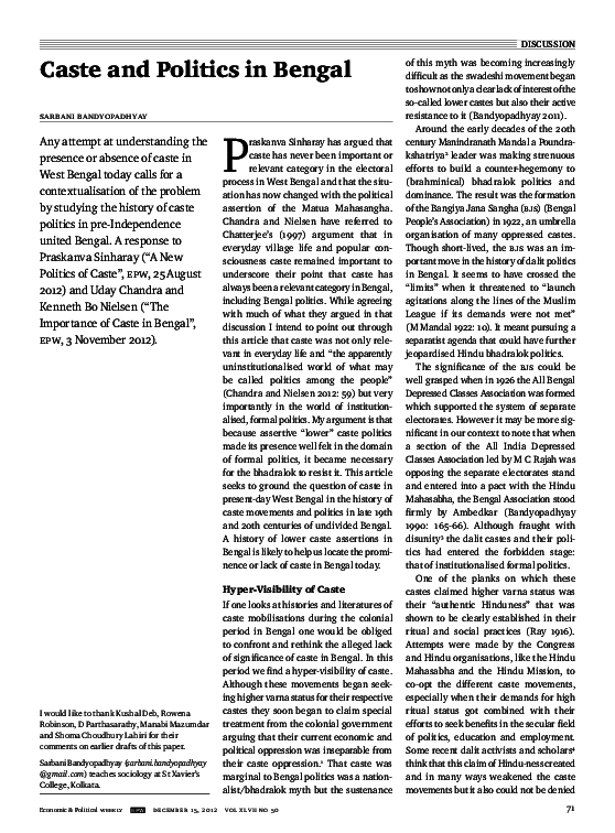 PDF) Caste and Politics in Bengal | Sarbani Bandyopadhyay