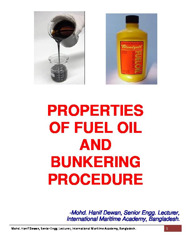 PDF) PROPERTIES OF FUEL OIL AND BUNKERING PROCEDURE | Hanif Dewan