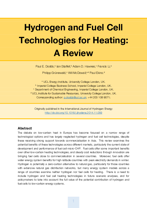 PDF) Hydrogen and fuel cell technologies for heating: A