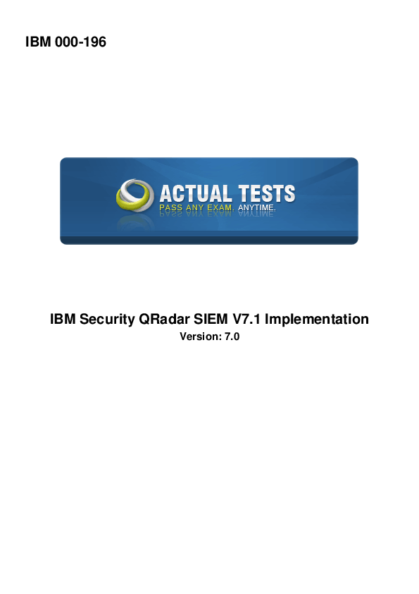 PDF) IBM 000-196 IBM Security QRadar SIEM V7 1 Implementation