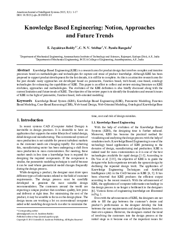 PDF) Knowledge Based Engineering: Notion, Approaches and Future